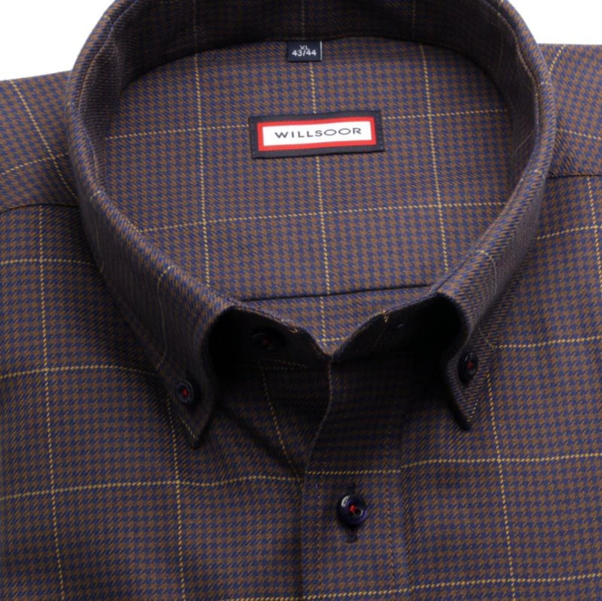 """Pánska klasická košeľa (výška 176-182) 7500 v hnedé farbe s """"pepito"""" vzorom 176-182 / XXL (45/46)"""