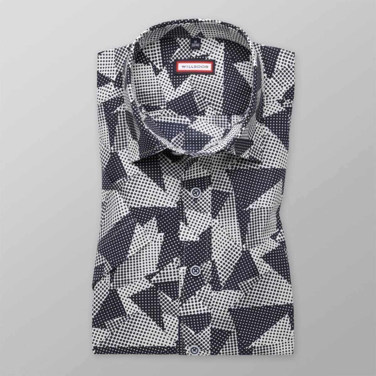 Pánska slim fit košeľa s krátkym rukávom (výška 176-182) 7835 s geometrickými vzory a úpravou easy c 176-182 / M (39/40)
