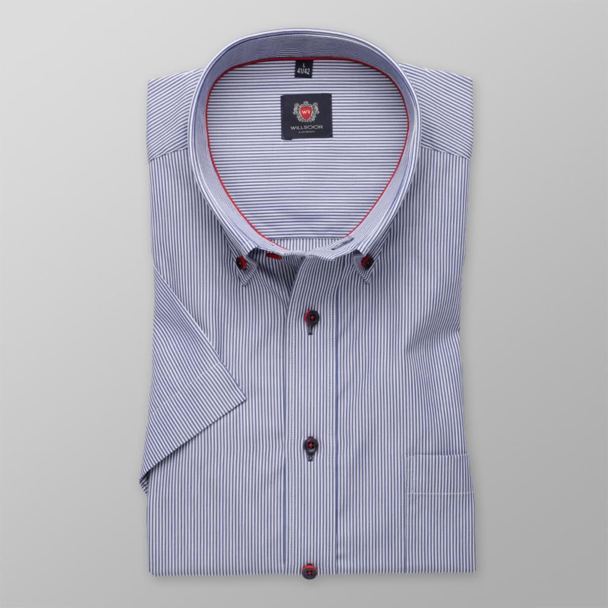 Pánska klasická košeľa s krátkym rukávom (výška 176-182) 8097 s modrými pásikmi a úpravou easy care 176-182 / L (41/42)