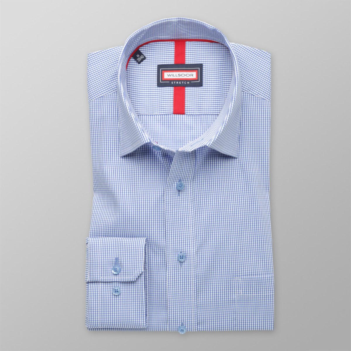Pánska klasická košeľa (výška 176-182) 8293 v modré farbe s prímesou elastanu 176-182 / L (41/42)