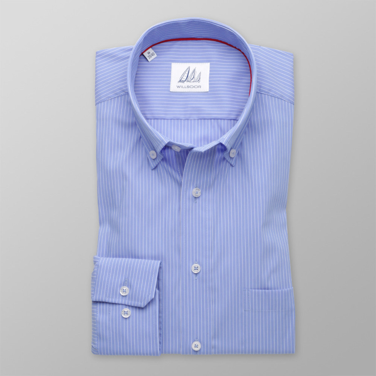Pánska klasická košeľa (výška 176-182) 8295 v modré farbe s pásikmi 176-182 / L (41/42)