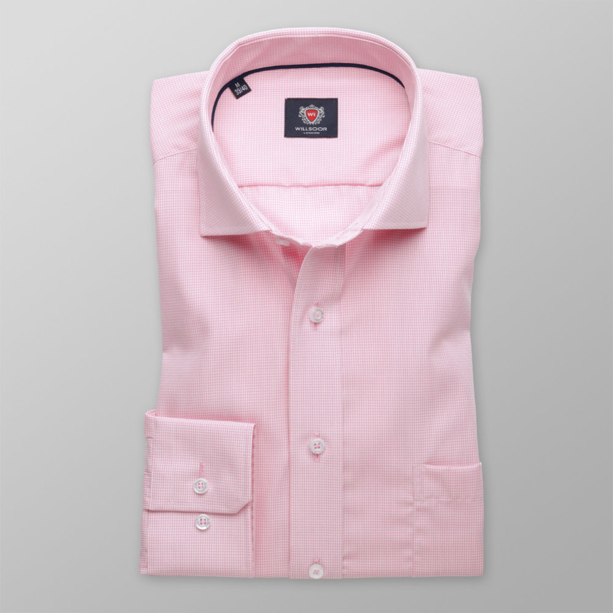 Pánska slim fit košele London (výška 176-182) 8392 v ružové farbe s úpravou 2W Plus 176-182 / M (39/40)