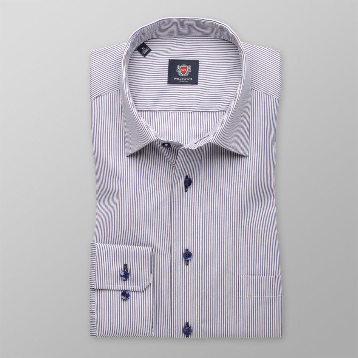 Pánska klasická košeľa (výška 176-182) 8397 v biele farbe s pásikmi a úpravou easy care 176-182 / XL (43/44)