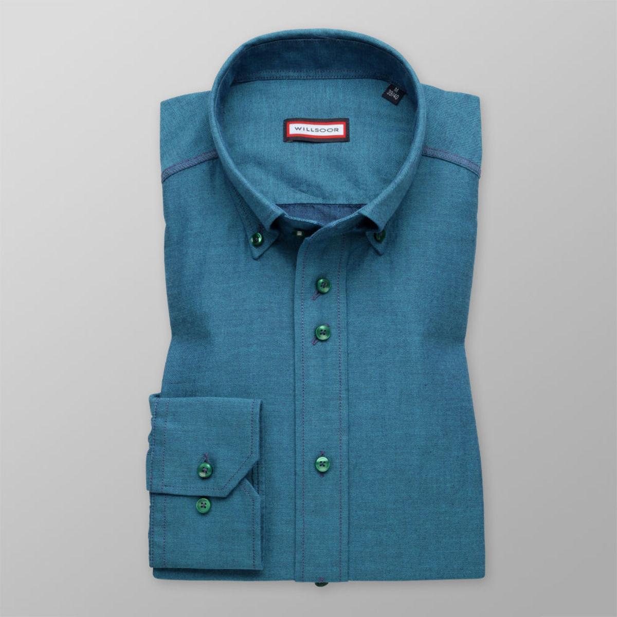 Pánska klasická košeľa (výška 176-182) 8492 v tyrkysovo modré farbe 176-182 / XL (43/44)