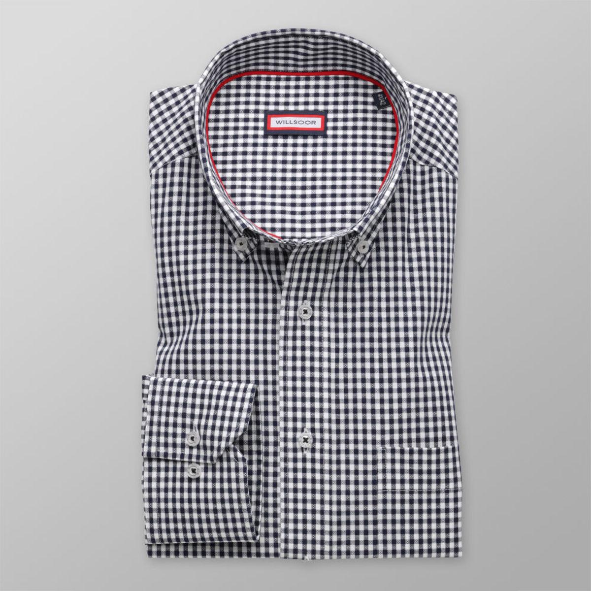"""Pánska klasická košeľa (výška 176-182) 8493 s kockou """"gingham"""" 176-182 / XXL (45/46)"""