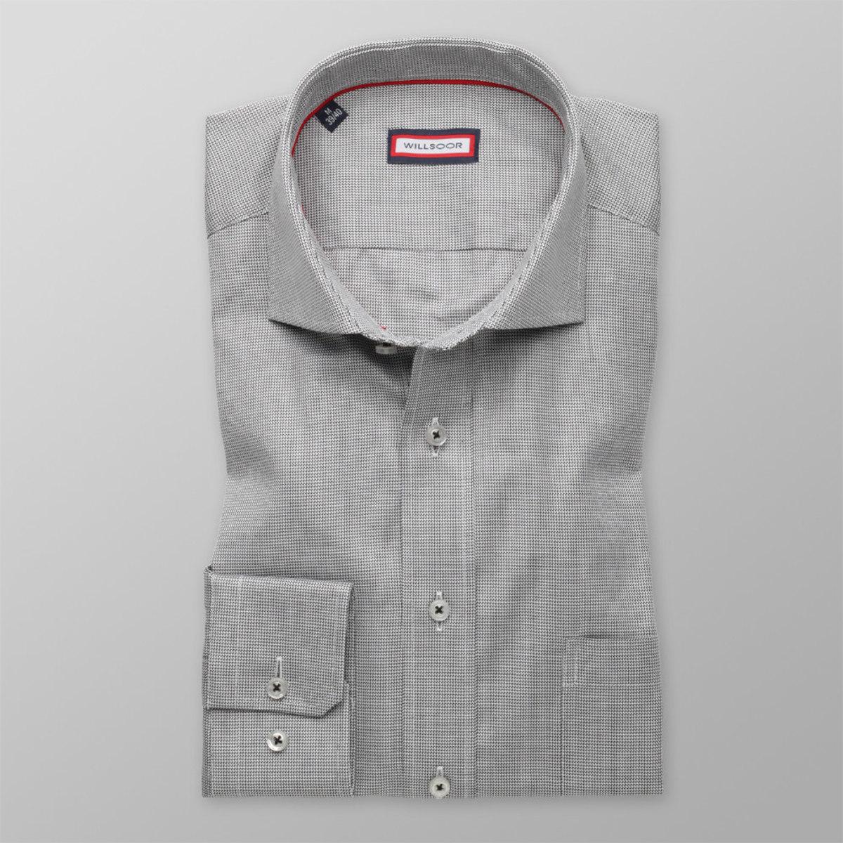 Pánska klasická košeľa (výška 176-182) 8631 v šedé farbe s mikro vzorom 176-182 / L (41/42)