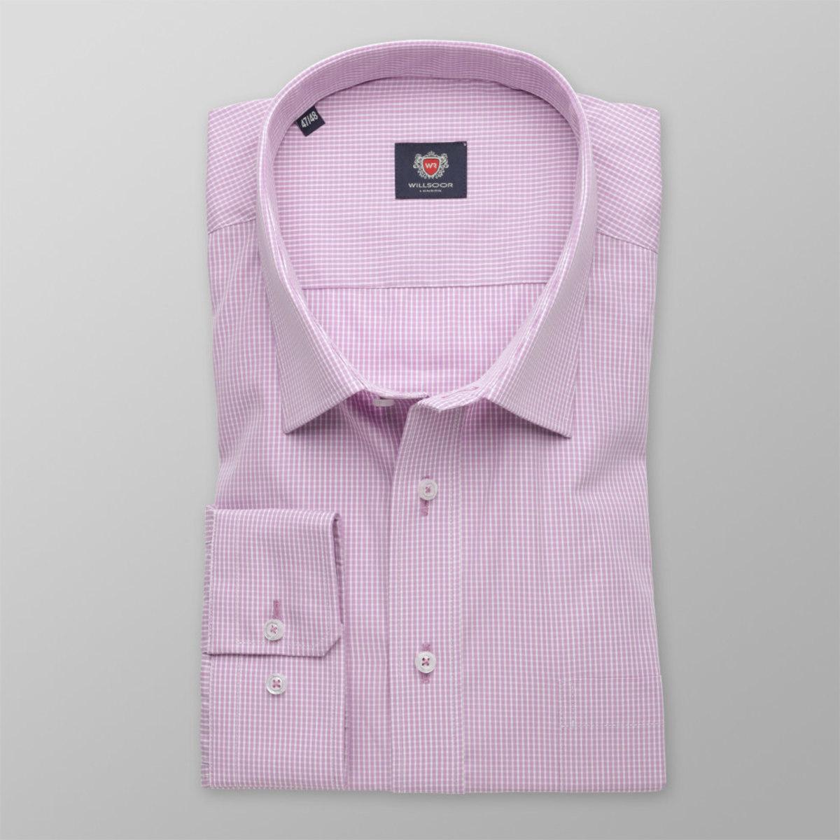 Pánska klasická košeľa London (výška 176-182) 8632 vo fialkovej farbe s kostičkou 176-182 / 47/48