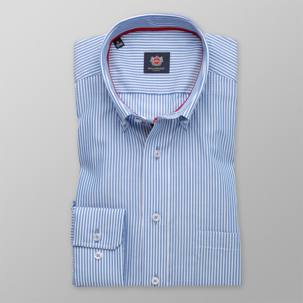 Pánska klasická košeľa London (výška 176-182) 8648 v modré farbe s pásikmi a úpravou 2W Plus 176-182 / XL (43/44)