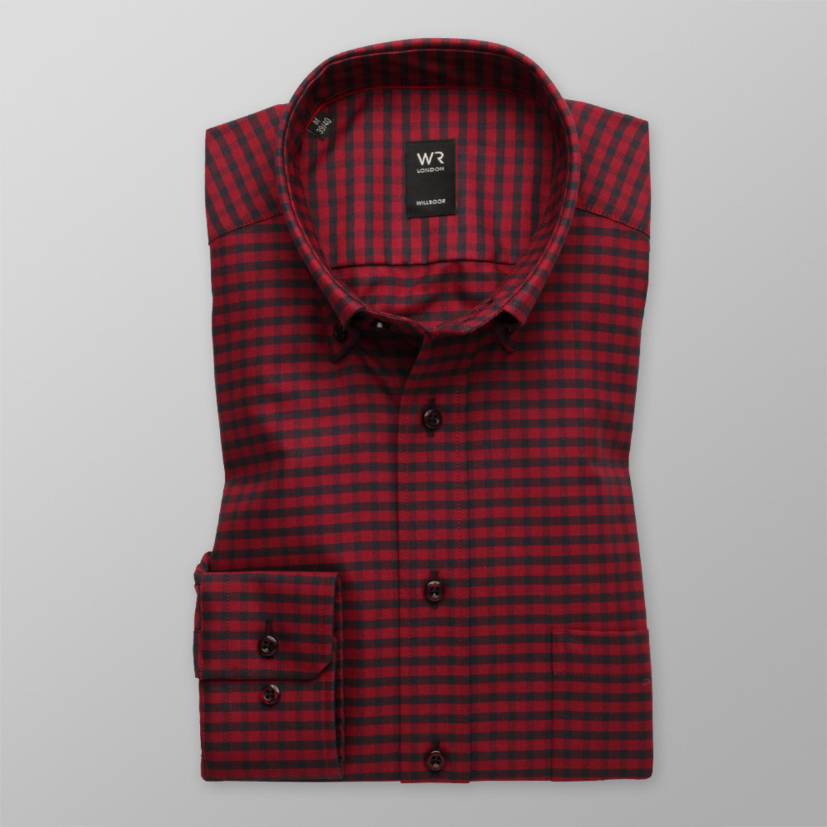 """Pánska klasická košeľa London (výška 176-182) 8662 v červené farbe s kockou """"gingham"""" 176-182 / XL (43/44)"""