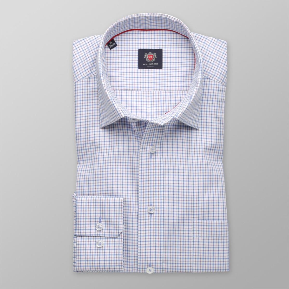 Pánska klasická košeľa London (výška 176-182) 8683 v biele farbe s farebnou kockou a úpravou easy care 176-182 / XL (43/44)