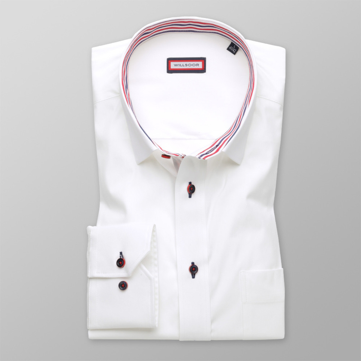 Pánska klasická košeľa (výška 176-182 i 188-194) 8706 v biele farbe 188-194 / XL (43/44)