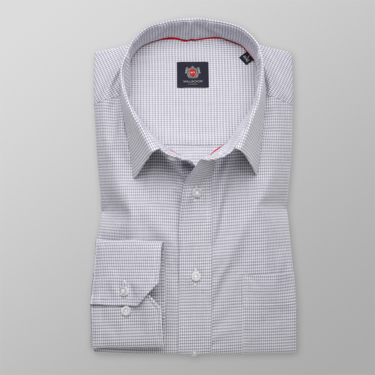 """Pánska klasická košeľa London (výška 176-182) 8710 sa šedým """"pepito"""" vzorom 176-182 / L (41/42)"""