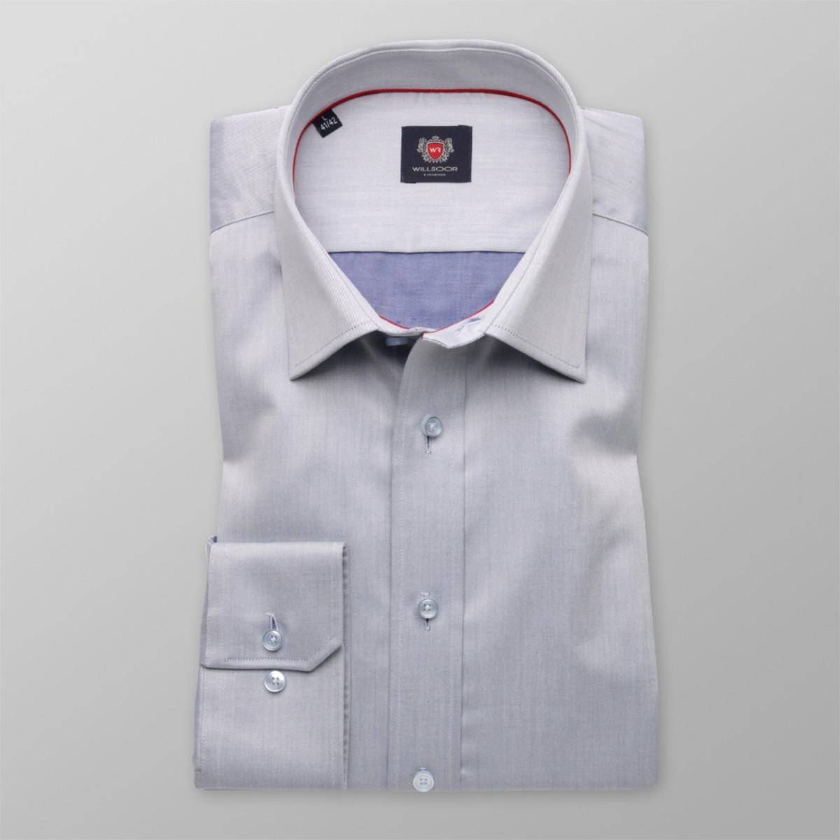 Pánska slim fit košele London (výška 176-182) 8755 v šedé farbe s úpravou easy starostlivosť 176-182 / M (39/40)