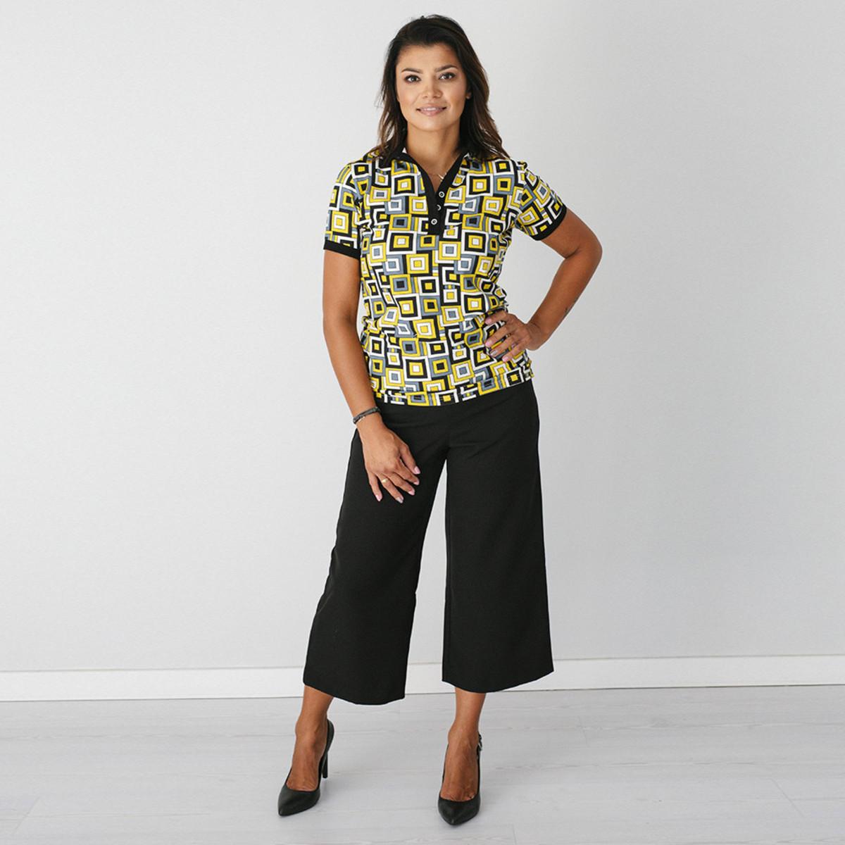 Dámske Polo tričko 9462 sa vzorom štvorcov 38