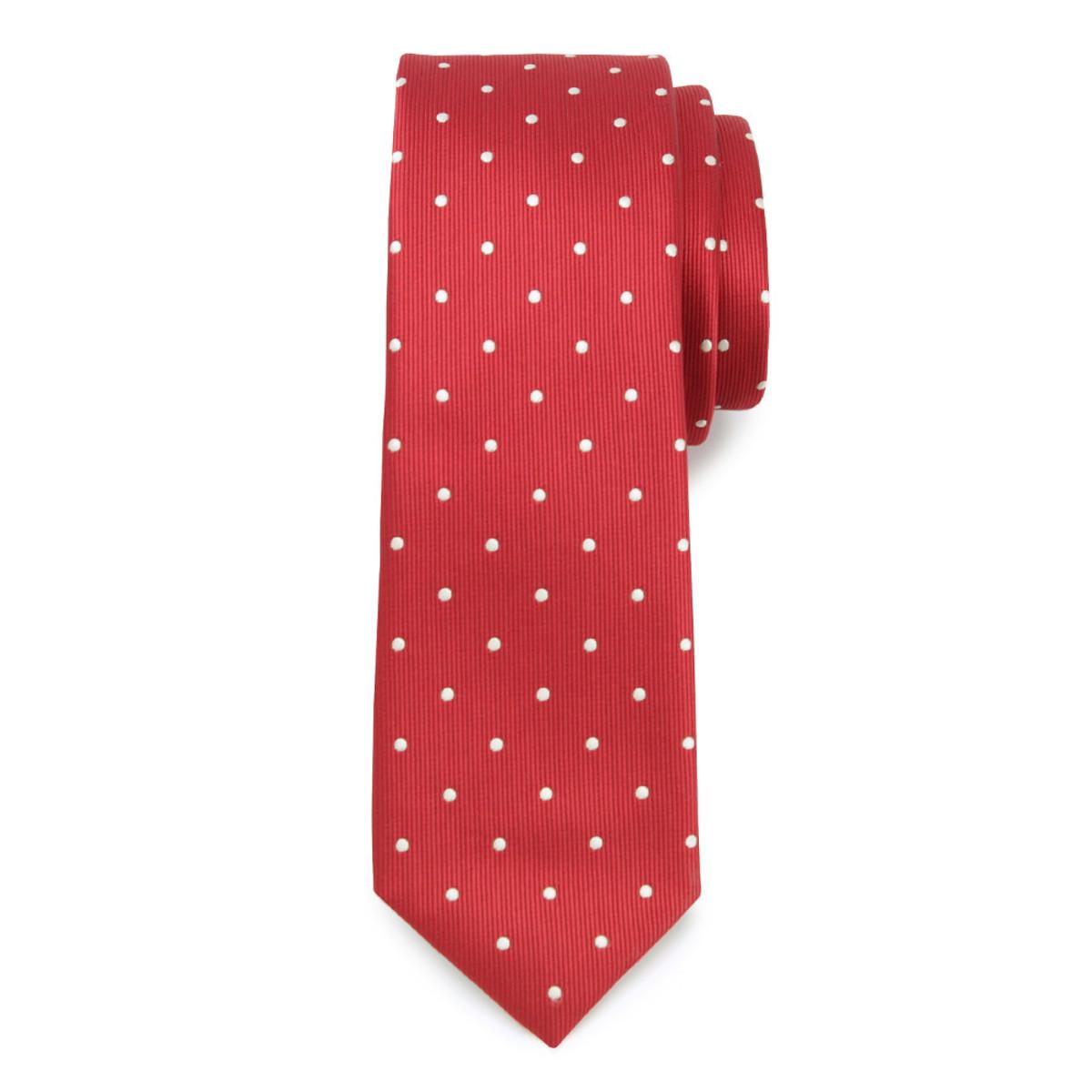 Úzka kravata červené farby s bodkami 9816