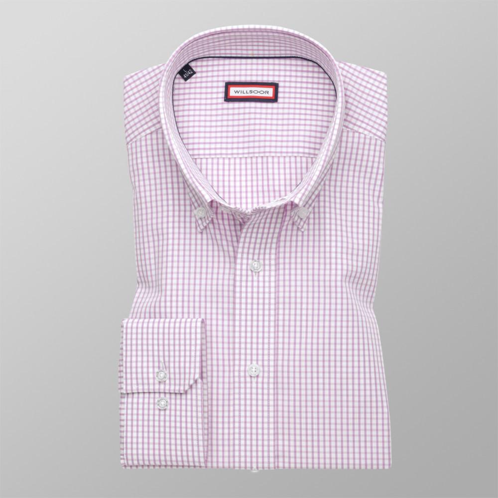 Košeľa London ružová kockovaná (výška 188 - 194) 10161 188-194 / L (41/42)