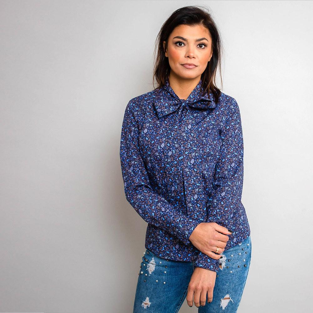 5a54618e709c Dámska košeľa kvetinový vzor s dlhou mašľou 10286 - Košele Willsoor