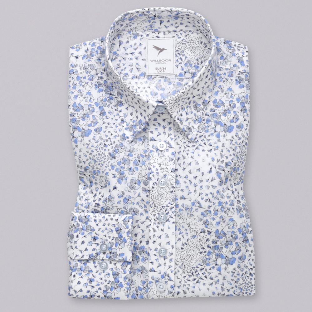 b576d4425c09 Dámska košeľa s modro-sivým kvetinovým vzorom 10620 - Košele Willsoor