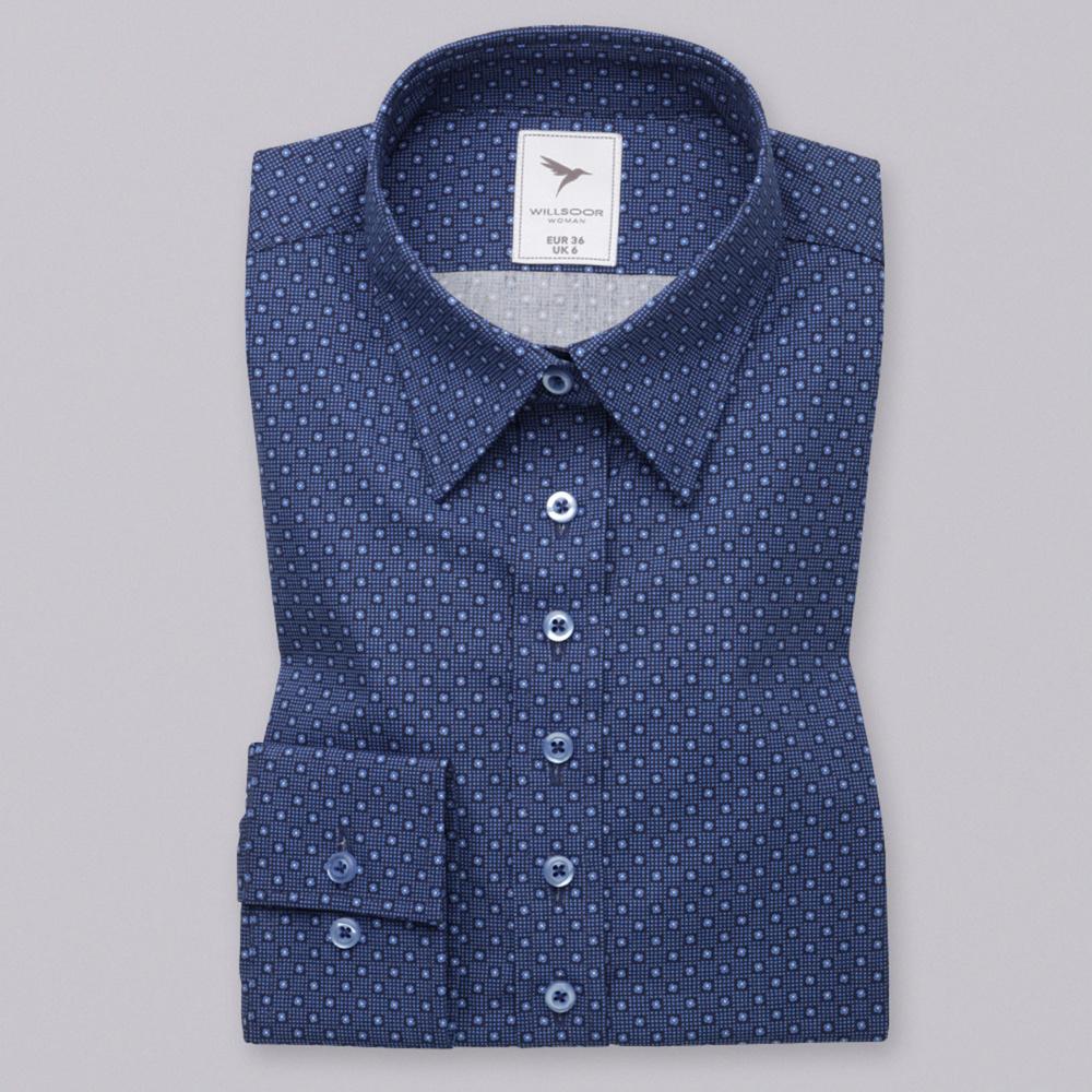 325531999b74 Dámska košeľa tmavo modrá so vzorom 10621 - Košele Willsoor