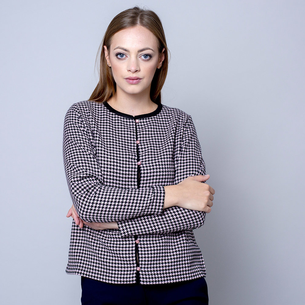 Dámsky sveter typu cardigan ružovo-čierny 10634 M (38/40)