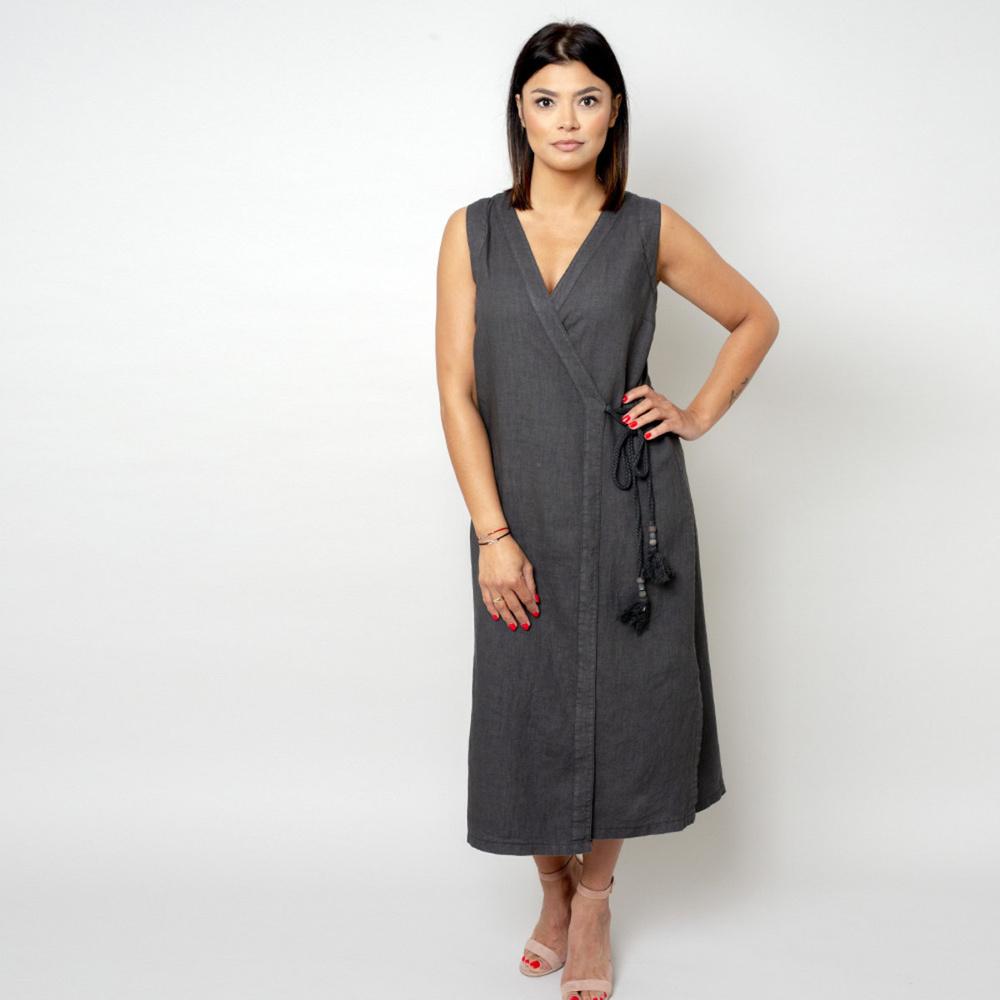 Dlhé plátené šaty antracitovej farby 10784 M