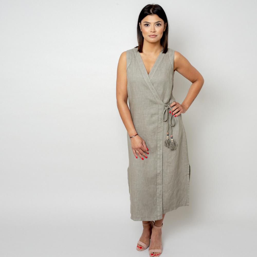 Dlhé plátené šaty vo farbe khaki 10786 M