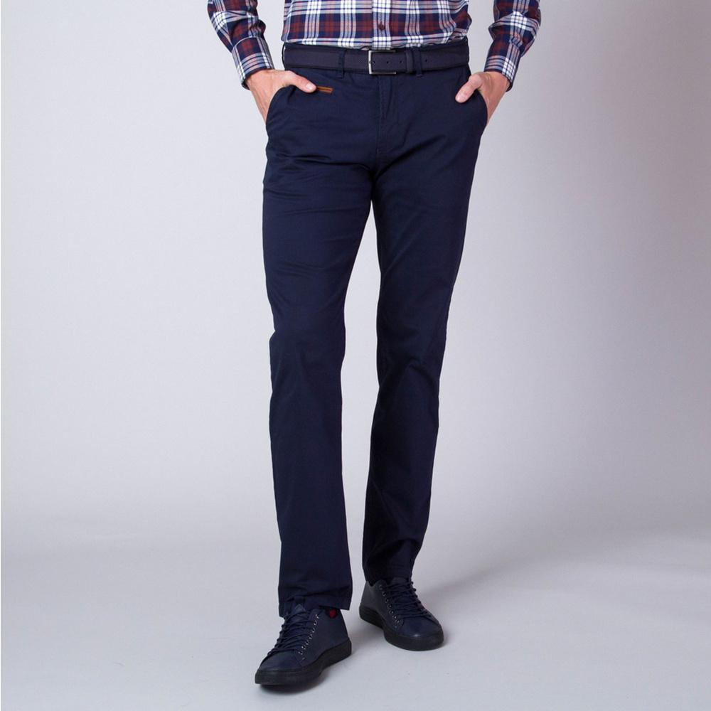 Pánske nohavice chinos tmavo modré s lemovaním vreciek 11266
