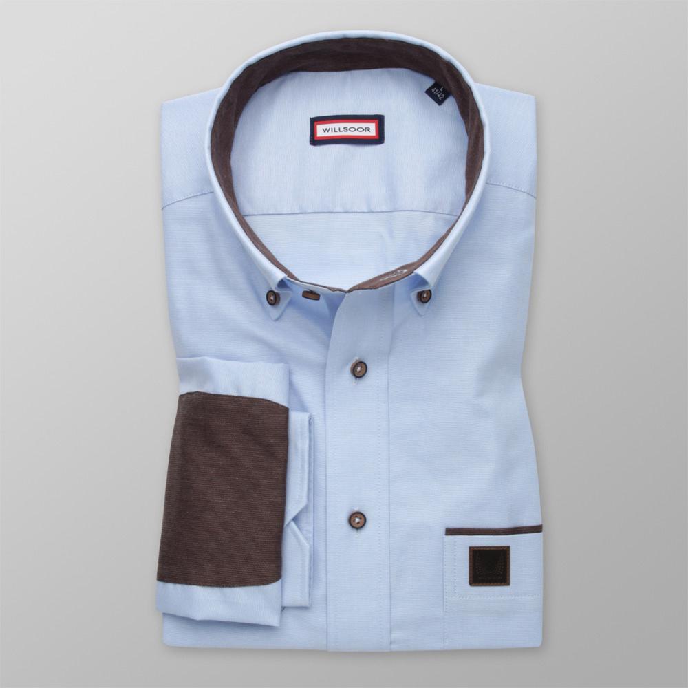 Pánska košeľa Slim Fit s hnedými kontrastnými prvkami 11617 176-182 / L (41/42)