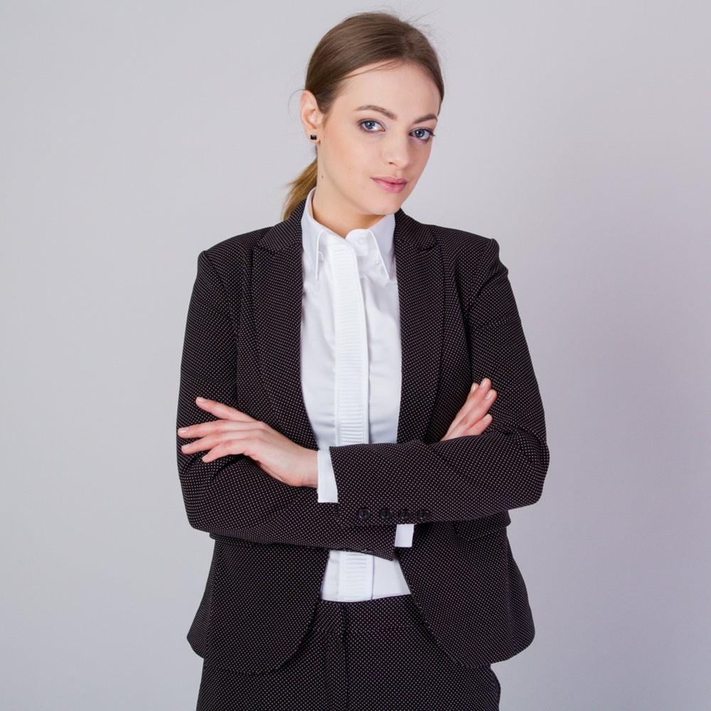 Dámske sako čierne s jemným bielym vzorom 11660 38
