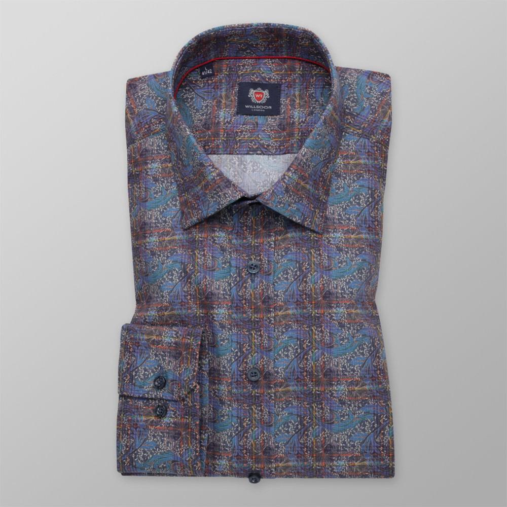 Pánska košeľa slim fit s farebným rastlinným vzorom 11735 164-170 / M (39/40)