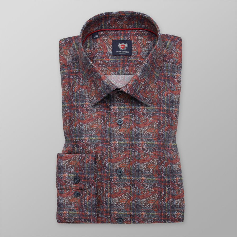 Pánska košeľa slim fit hnedej farby s rastlinným vzorom 11737 164-170 / M (39/40)