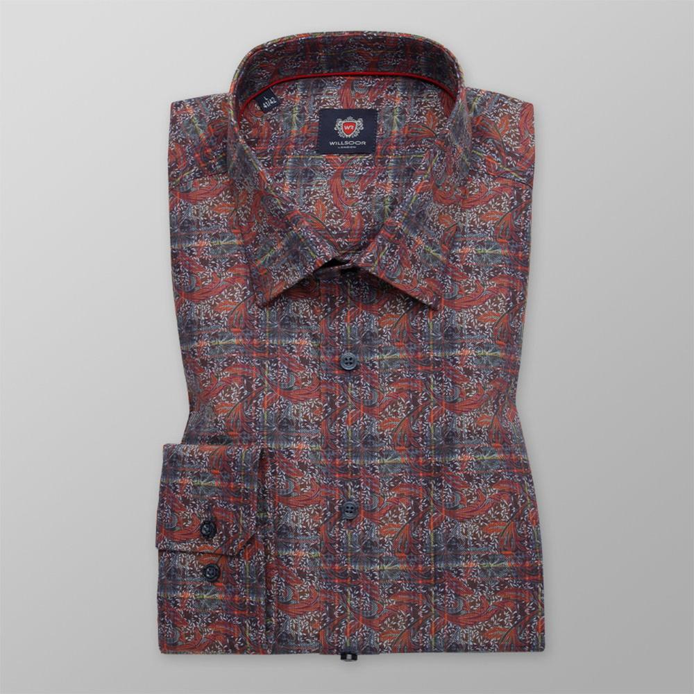 Pánska košeľa klasická hnedej farby s rastlinným vzorom 11738 164-170 / L (41/42)