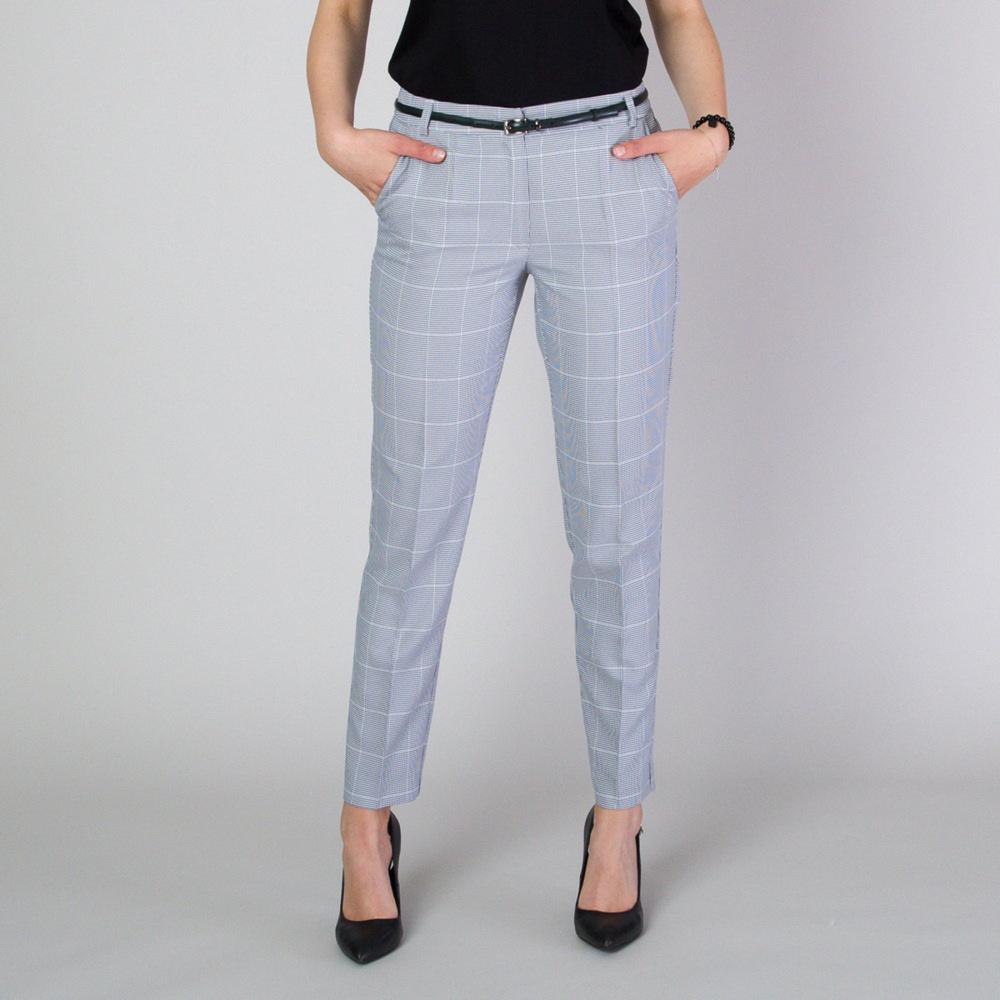 Dámske spoločenské nohavice s jemným kockovaným vzorom 11781 40