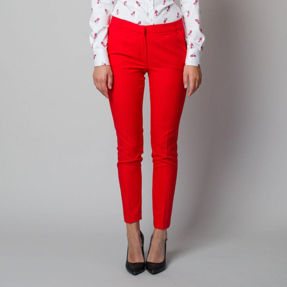 Dámske spoločenské nohavice červeno-oranžovej farby 11897 40