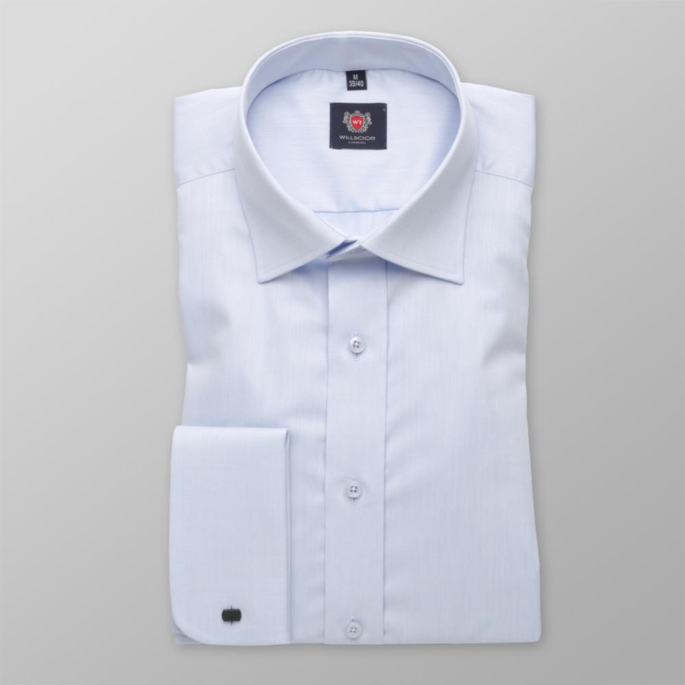 Pánska košeľa Slim Fit svetlo modrá s hladkým vzorom 12043 176-182 / L (41/42)
