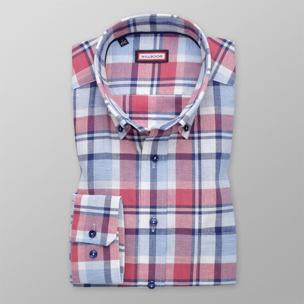 Pánska košeľa Slim Fit s červeným a modrým vzorom 12045 176-182 / L (41/42)