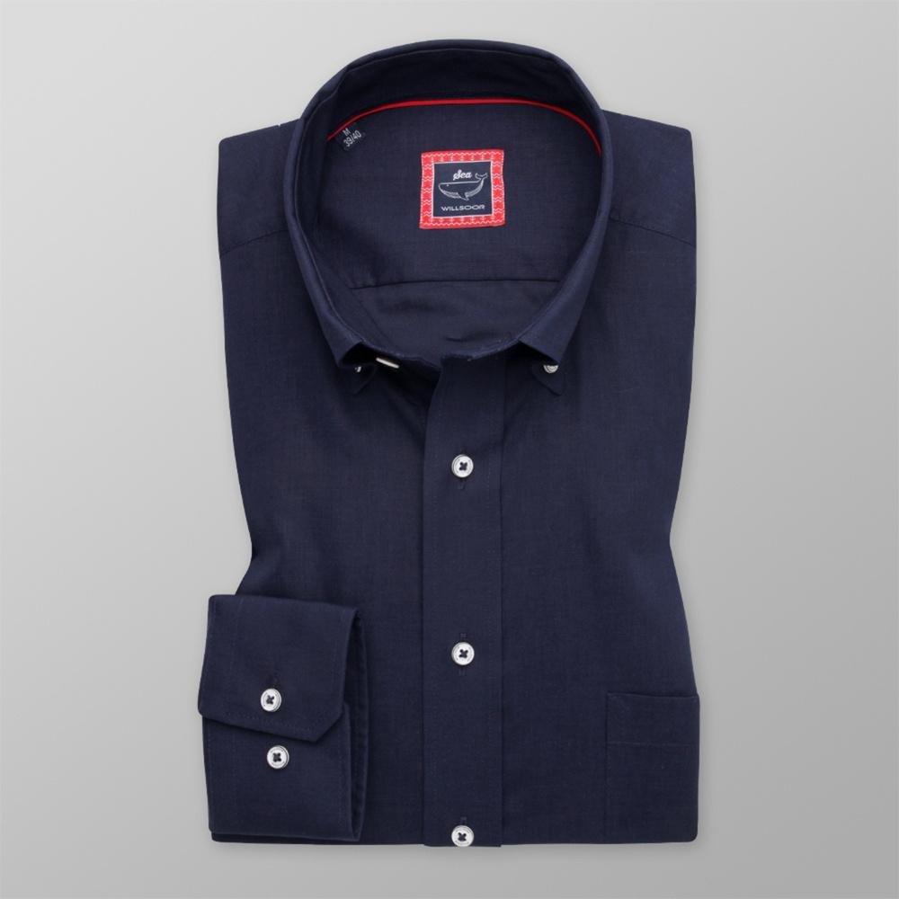 Pánska košeľa Slim Fit tmavo modrá s hladkým vzorom 12064 176-182 / L (41/42)