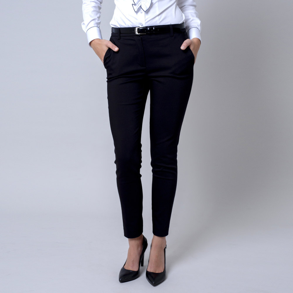 Dámske spoločenské nohavice Long Size čierne farby 12140 40