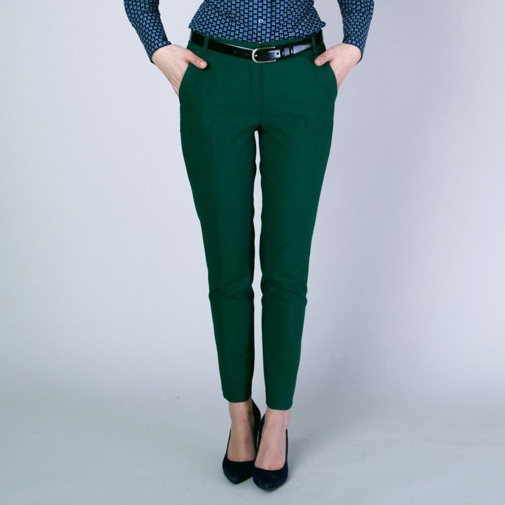 Dámske spoločenské nohavice Long Size tmavo zelené 12142 40