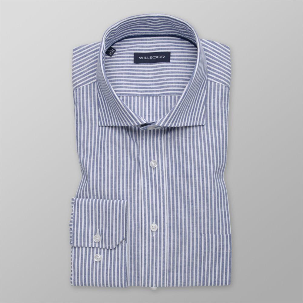 Pánska košeľa Slim Fit s modrým pruhovaným vzorom 12161 176-182 / L (41/42)