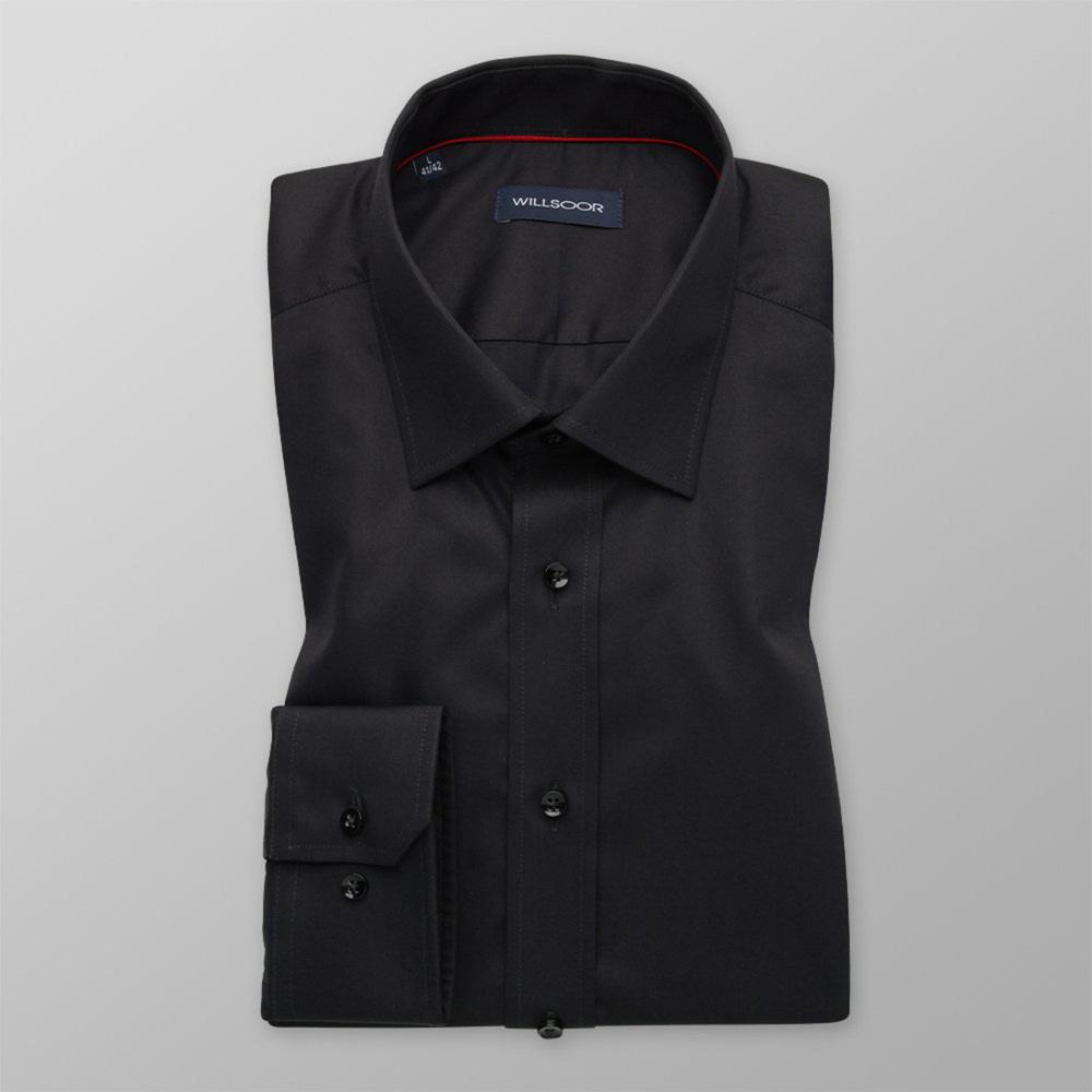 Pánska košeľa Slim Fit čierna s hladkým vzorom 12170 164-170 / L (41/42)