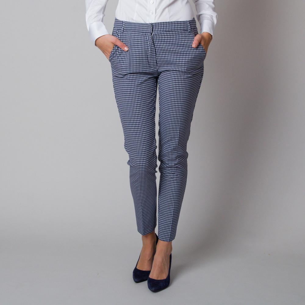 Dámske spoločenské nohavice s čierno-bielym kockovaným vzorom 12177 40