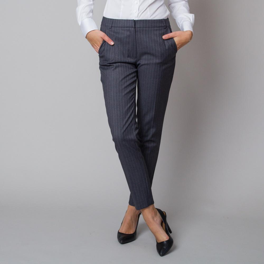 Dámske spoločenské nohavice s jemným pruhovaným vzorom 12179 40