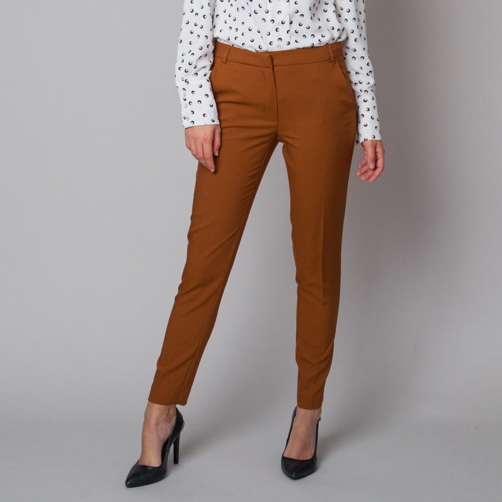 Dámske spoločenské nohavice škoricovej farby 12181 42