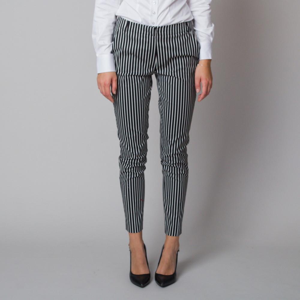 Dámske spoločenské nohavice s čierno-bielym pruhovaným vzorom 12185 40