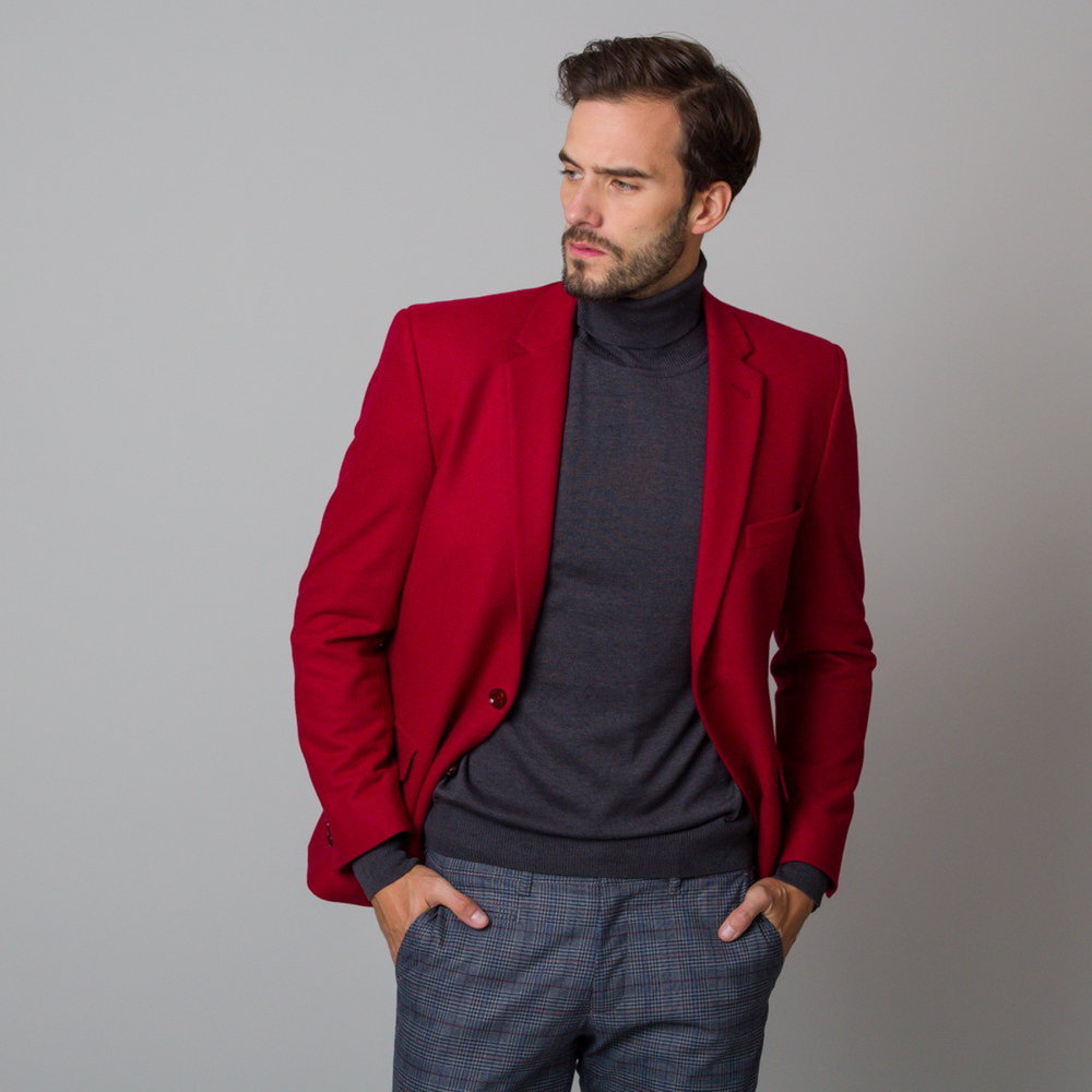 Pánske sako červené s hladkým vzorom 12198 60 / 176-182 (Veľkosť 3XL)