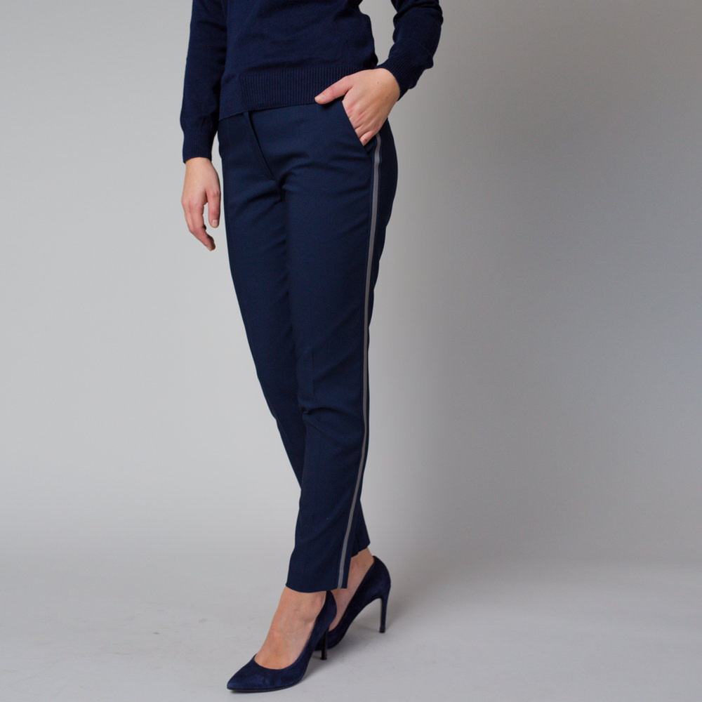 Dámske spoločenské nohavice tmavo modré s bočným pruhom 12219 34