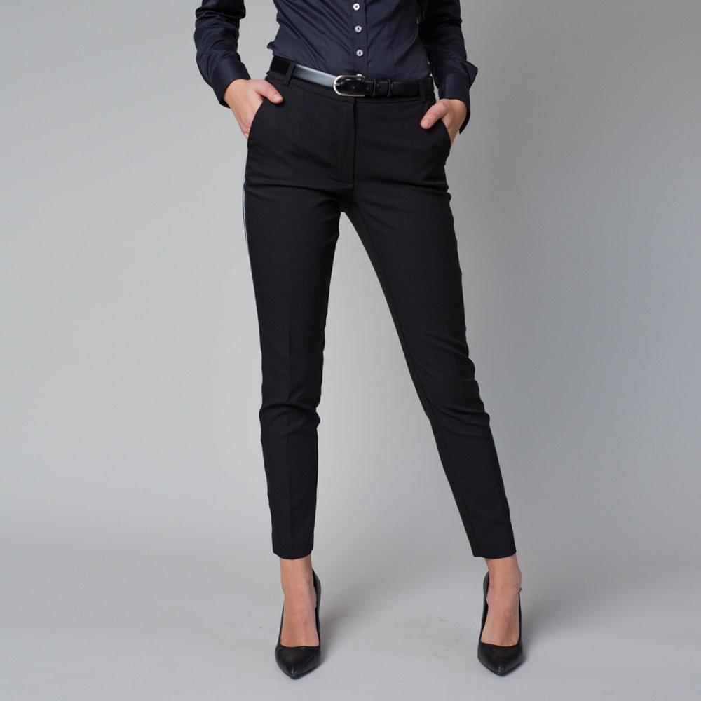 Dámske spoločenské nohavice čiernej farby s bočným pruhom 12220 40