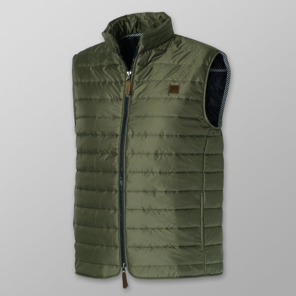 Pánska prešívaná vesta khaki farby 12356 M