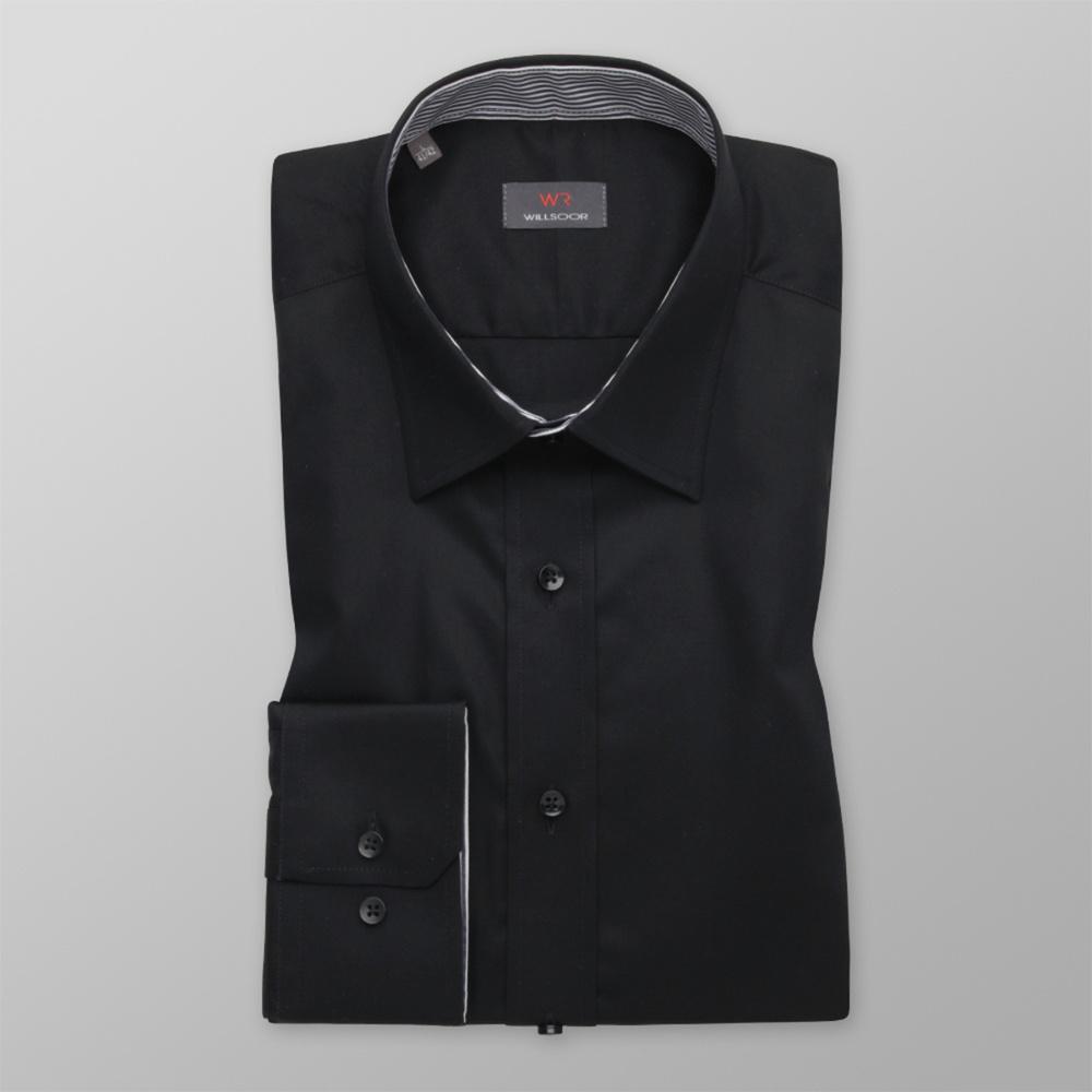 Pánska košeľa Slim Fit čierna s hladkým vzorom 12360 176-182 / S (37/38)